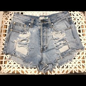 MINKPINK High Waist Distressed Jean Shorts - Small